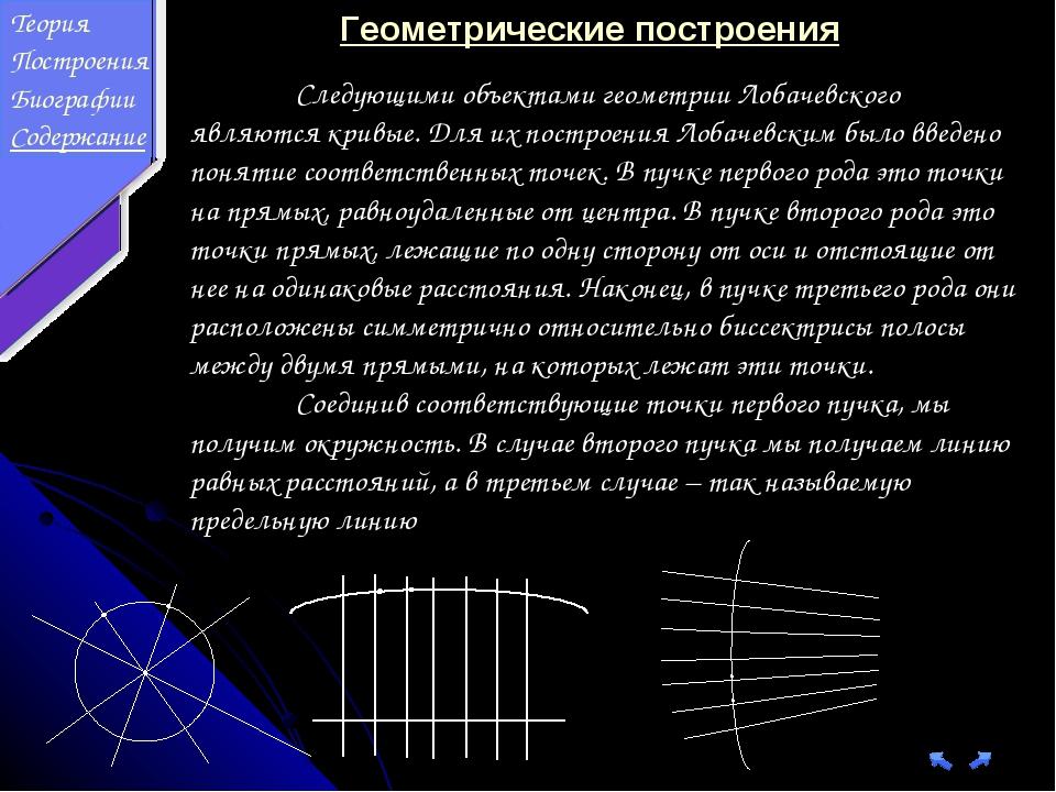 Следующими объектами геометрии Лобачевского являются кривые. Для их построен...