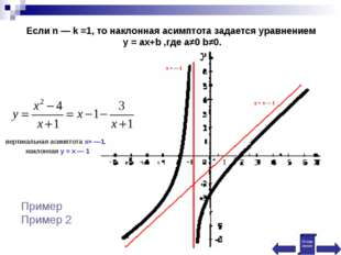 Если n — k =1, то наклонная асимптота задается уравнением у = ах+b ,где a≠0 b