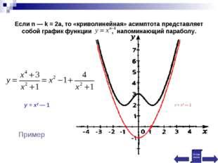 Если n — k = 2a, то «криволинейная» асимптота представляет собой график функц
