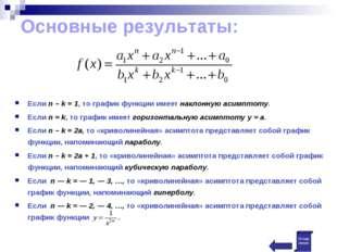 Основные результаты: Если n – k = 1, то график функции имеет наклонную асимпт