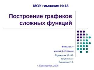 Построение графиков сложных функций п. Краснообск, 2005 Выполнил: ученик 11б