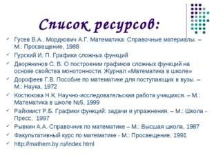 Список ресурсов: Гусев В.А., Мордкович А.Г. Математика: Справочные материалы.