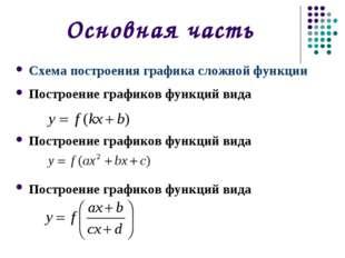 Основная часть Схема построения графика сложной функции Построение графиков ф