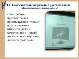 IX. Самостоятельная работа в русском языке. (афиширование результатов работы)