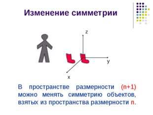 x y z Изменение симметрии В пространстве размерности (n+1) можно менять симме