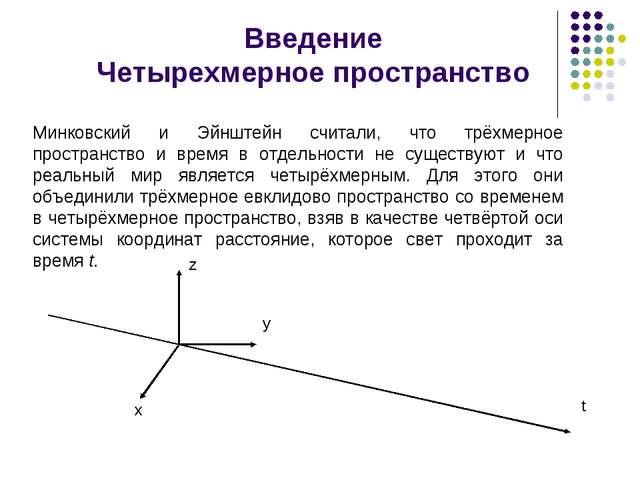 Введение Четырехмерное пространство Минковский и Эйнштейн считали, что трёхм...