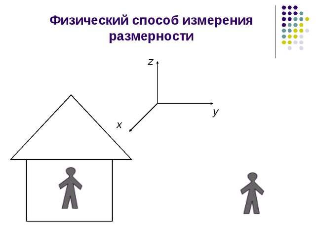 Физический способ измерения размерности x