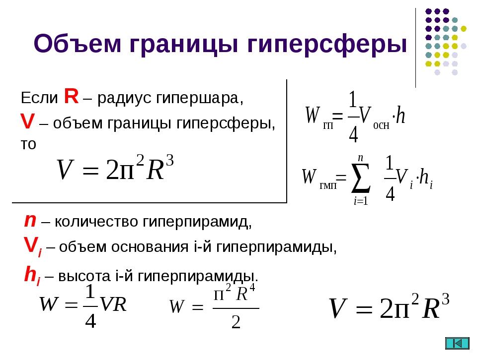 Если R – радиус гипершара, V – объем границы гиперсферы, то Объем границы гип...
