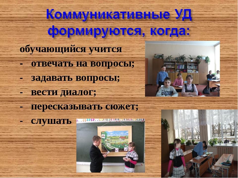 обучающийся учится - отвечать на вопросы; - задавать вопросы; - вести диалог;...