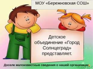 Детское объединение «Город Солнцеград» представляет. МОУ «Бережновская СОШ» Д