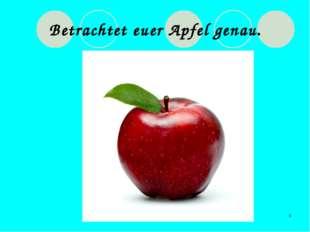 * Betrachtet euer Apfel genau.