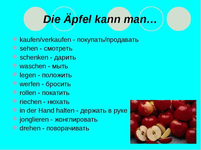 * Die Äpfel kann man… kaufen/verkaufen - покупать/продавать sehen - смотреть...