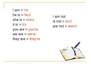 I am = I'm he is = he's she is = she's it is = it's you are = you're we are =