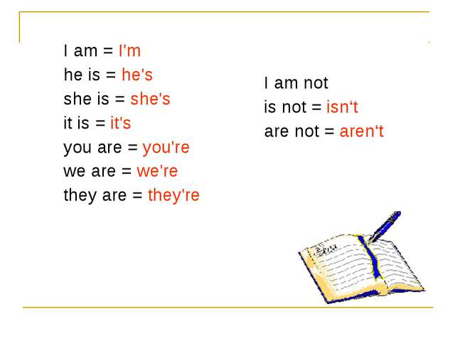 I am = I'm he is = he's she is = she's it is = it's you are = you're we are =...