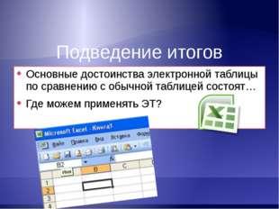 Подведение итогов Основные достоинства электронной таблицы по сравнению с обы