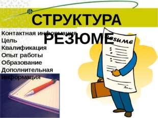 СТРУКТУРА РЕЗЮМЕ Контактная информация Цель Квалификация Опыт работы Образова
