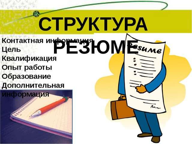 СТРУКТУРА РЕЗЮМЕ Контактная информация Цель Квалификация Опыт работы Образова...