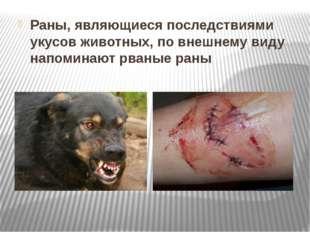 Раны, являющиеся последствиями укусов животных, по внешнему виду напоминают р