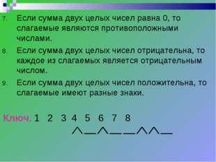 Если сумма двух целых чисел равна 0, то слагаемые являются противоположными ч