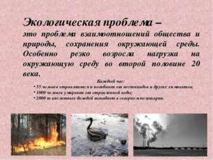 Экологическая проблема – это проблема взаимоотношений общества и природы, сох