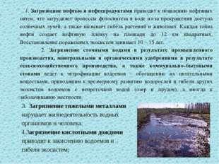 1. Загрязнение нефтью и нефтепродуктами приводит к появлению нефтяных пятен,