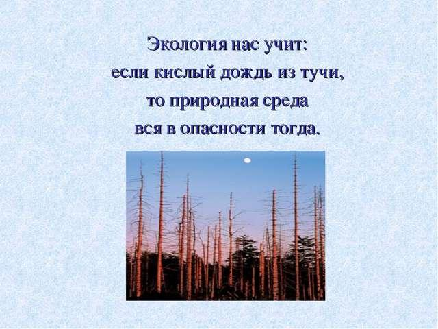 Экология нас учит: если кислый дождь из тучи, то природная среда вся в опасн...