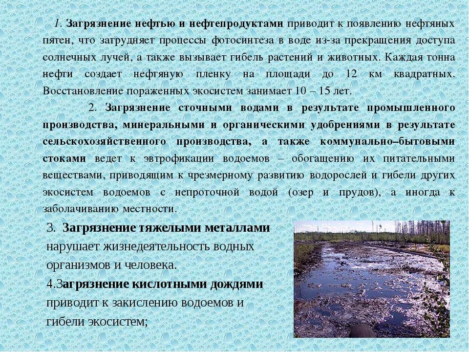 1. Загрязнение нефтью и нефтепродуктами приводит к появлению нефтяных пятен,...