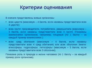 Критерии оценивания В ковчеге представлены живые организмы: всех царств (макс