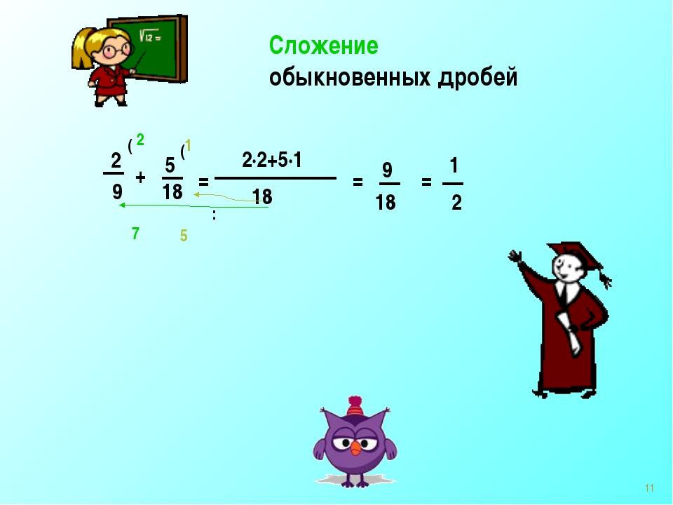 Сложение обыкновенных дробей 2 9 + 5 18 = 18 : ( ( 2 1 2·2+5·1 = 9 18 = 1 2 7...