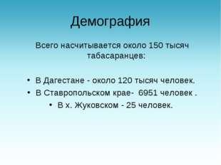 Демография Всего насчитывается около 150 тысяч табасаранцев: В Дагестане - о