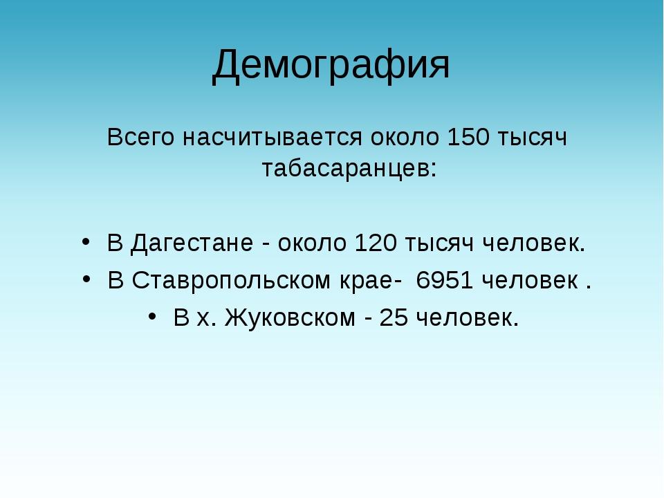 Демография Всего насчитывается около 150 тысяч табасаранцев: В Дагестане - о...