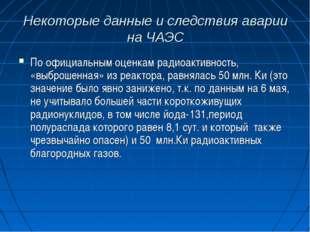 Некоторые данные и следствия аварии на ЧАЭС По официальным оценкам радиоактив