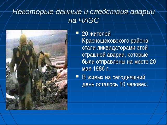 Некоторые данные и следствия аварии на ЧАЭС 20 жителей Краснощековского район...