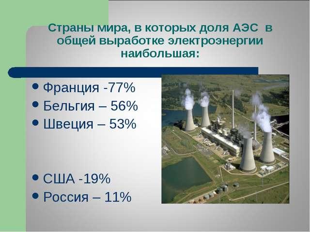 Страны мира, в которых доля АЭС в общей выработке электроэнергии наибольшая:...