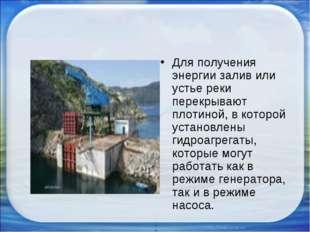 Для получения энергии залив или устье реки перекрывают плотиной, в которой ус