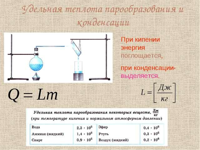 Удельная теплота парообразования и конденсации При кипении энергия поглощаетс...