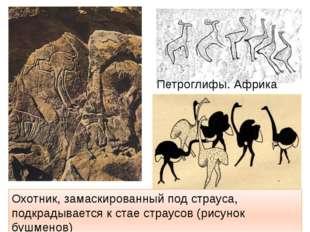 Охотник, замаскированный под страуса, подкрадывается к стае страусов (рисунок