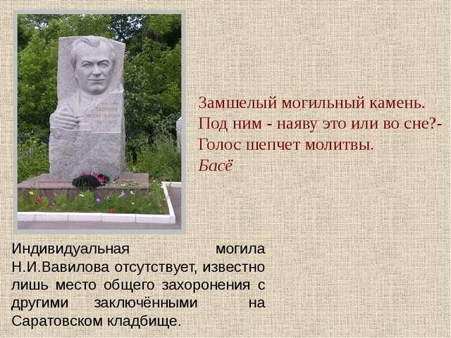 Индивидуальная могила Н.И.Вавилова отсутствует, известно лишь место общего за...