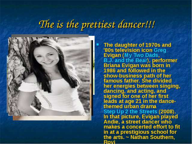 The is the prettiest dancer!!! The daughter of 1970s and '80s television icon...