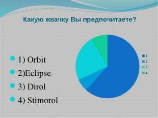 Какую жвачку Вы предпочитаете? 1) Orbit 2)Eclipse 3) Dirol 4) Stimorol