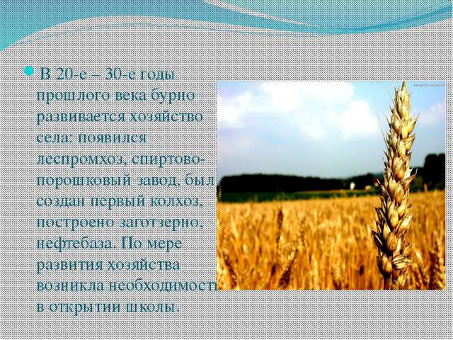 В 20-е – 30-е годы прошлого века бурно развивается хозяйство села: появился...
