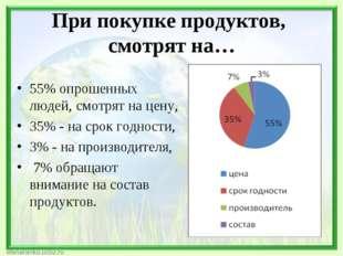 При покупке продуктов, смотрят на… 55% опрошенных людей, смотрят на цену, 35%