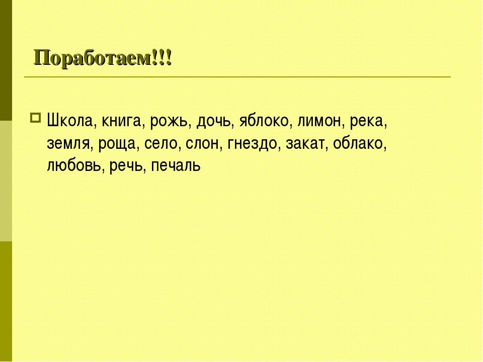 Поработаем!!! Школа, книга, рожь, дочь, яблоко, лимон, река, земля, роща, сел...
