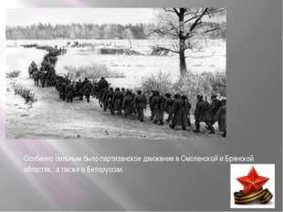 Особенно сильным было партизанское движение в Смоленской и Брянской областях,