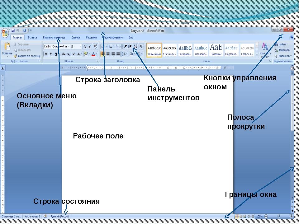 Строка заголовка Основное меню (Вкладки) Панель инструментов Строка состояния...