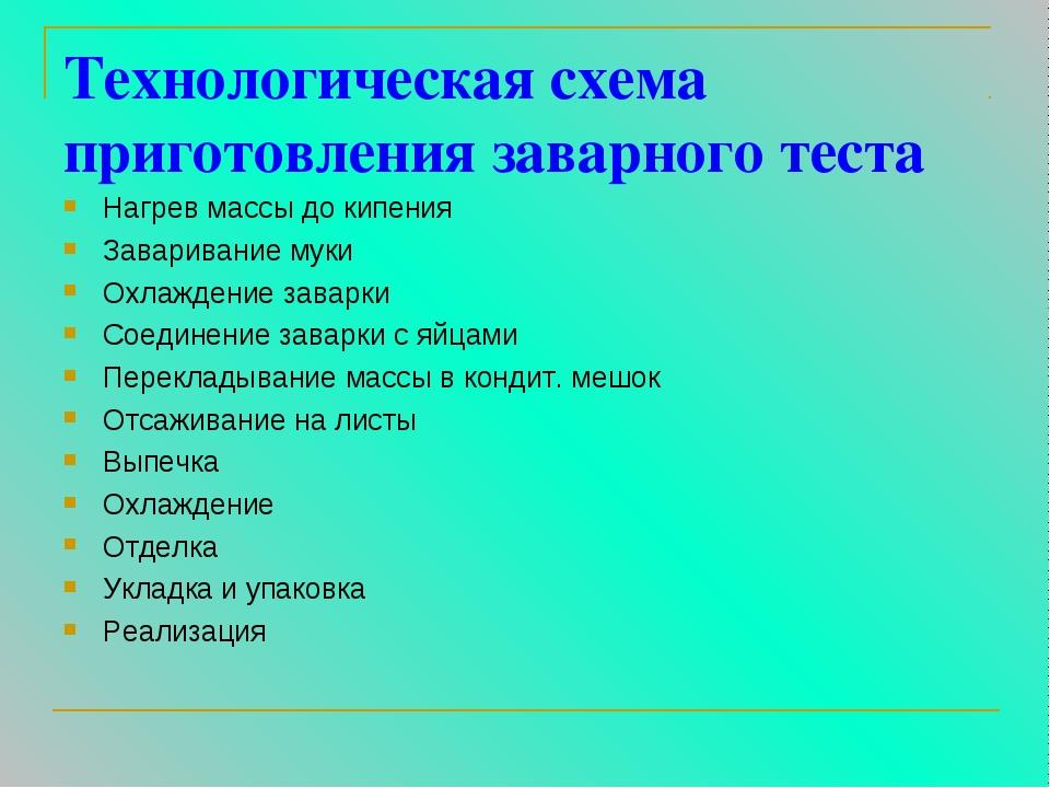 Технологическая схема приготовления заварного теста Нагрев массы до кипения З...