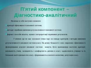 Включає в себе наступні елементи: критерії ефективності виховної системи; м