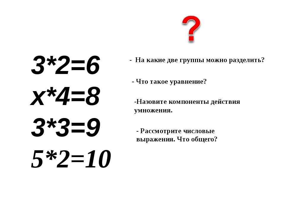 3*2=6 х*4=8  3*3=9 5*2=10 - Что такое уравнение? -Назовите компоненты действ...