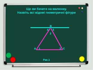 Що ви бачите на малюнку. Назвіть всі відомі геометричні фігури B 4 5 2 A 1 3