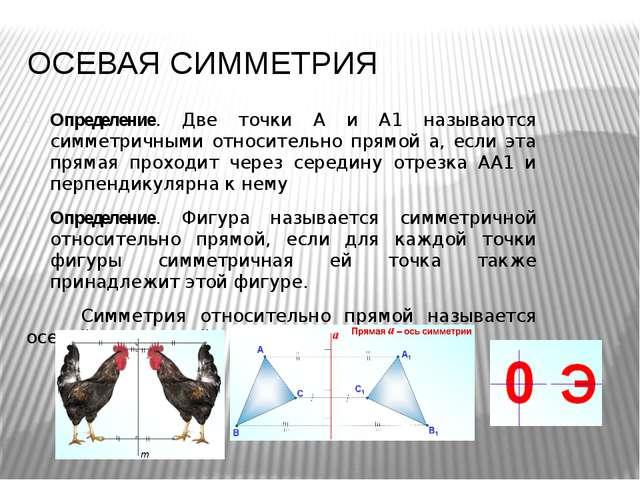 ОСЕВАЯ СИММЕТРИЯ Определение. Две точки А и А1 называются симметричными относ...